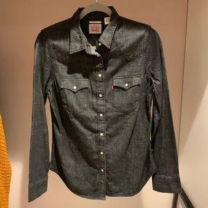 NWT- Levi's Dark-Wash, Tailored, Denim Button Up